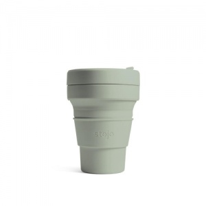 Stojo Reusable Coffee Cup - Collapses Down to Fit in Your Pocket or Bag - Sage