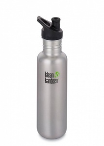 Klean Kanteen Brushed Classic Stainless Steel Reusable Water Bottle - 800ml / 27oz - Sports Cap