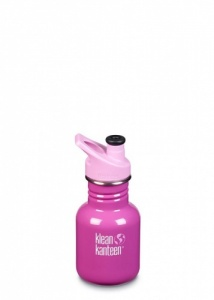 Klean Kanteen Kids Sports Water Bottle - Reusable BPA-Free Stainless Steel 12oz/335ml Bubble Gum