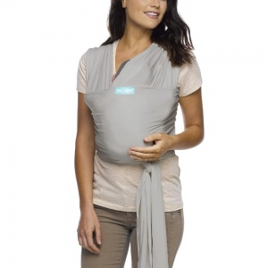 Moby Wrap Classic Stretchy Baby Carrier from Newborn - Stone Grey
