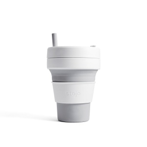 Stojo Biggie Reusable Coffee Cup with Straw - Collapses Down to Fit in Your Bag - 16oz Dove Grey