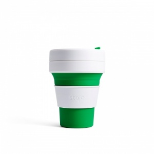 Stojo Reusable Coffee Cup - Collapses Down to Fit in Your Pocket or Bag - Green