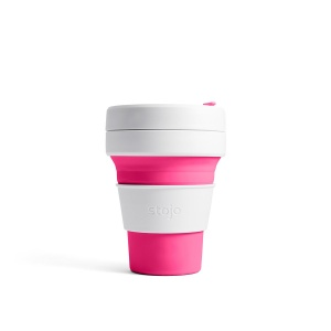 Stojo Reusable Coffee Cup - Collapses Down to Fit in Your Pocket or Bag - Pink