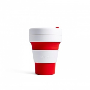 Stojo Reusable Coffee Cup - Collapses Down to Fit in Your Pocket or Bag -Red