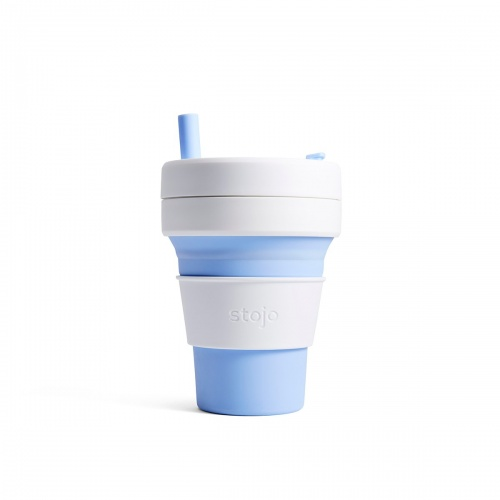 Stojo Biggie Reusable Coffee Cup With Straw Collapses