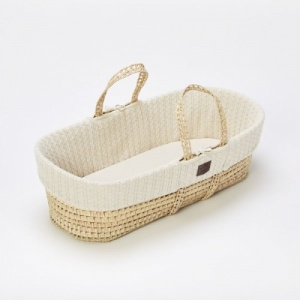 The Little Green Sheep Natural Knitted Moses Basket  and Mattress - Linen