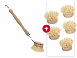 Memo Dishwashing Brush from FSC Wood with 5 Replaceable Heads - Zero Plastic!
