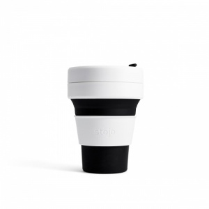 Stojo Reusable Coffee Cup - Collapses Down to Fit in Your Pocket or Bag - Black