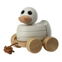 Hevea Rubberwood Stacker and Pull Along Kawan Duck - Non Toxic - All Natural - Eco Friendly