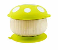 Haakaa Bamboo Mushroom Bowl with Suction Pad - Perfect for Mealtimes - Green