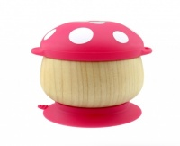 Haakaa Bamboo Mushroom Bowl with Suction Pad - Perfect for Mealtimes - Red