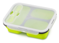 Haakaa Collapsible Silicone Lunchbox -  3 Deep Compartments - Fold Away - No Plastic!