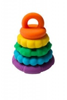 Jellystone Rainbow Stacker - Easy to Grasp 2 in 1 Stacking Toy and Teether - Non Toxic, Washable Fun!