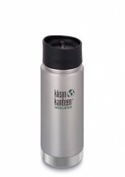 Klean Kanteen Wide Insulated Brushed Stainless Steel 3-in-1 Drinks Holder - Perfect for Coffee or Cold Drinks or even Hot Lunch 473ml/16oz