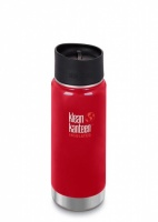 Klean Kanteen Wide Insulated Stainless Steel 3-in-1 Drinks Holder - Perfect for Coffee or Cold Drinks 473ml/16oz Mineral Red