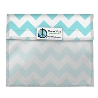 Planetwise Reusable Window Sandwich Bag Teal Chevron