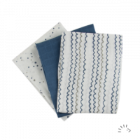 Popolini Organic Cotton Muslin Cloths 3 pack Starry Sea