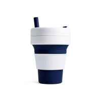 Stojo Biggie Reusable Coffee Cup with Straw - Collapses Down to Fit in Your Bag - 16oz Indigo