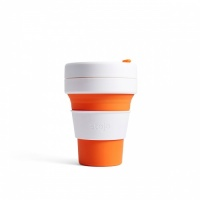 Stojo Reusable Coffee Cup - Collapses Down to Fit in Your Pocket or Bag - Orange