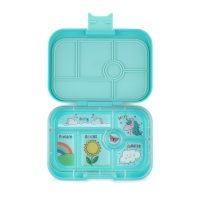 Yumbox Classic 6 Compartment Lunchbox Misty Aqua with Unicorn Tray