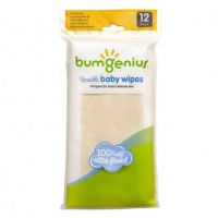 bumGenius Reusable Baby Wipes - 100% Soft Cotton Flannel 12 Pack