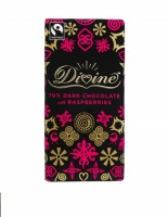 Divine 70% Dark Chocolate Bar with Rasberries - Ethical, Fair Trade and Palm Oil Free