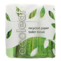 Ecoleaf Recycled Paper Toilet Tissue 9 Rolls with 100% Compostable Packaging