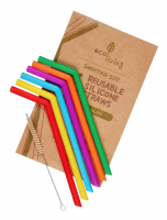 ecoLiving Reusable Silicone Straws 6 Pack and Plant Based Cleaning Brush