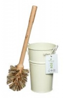 ecoLiving Plastic Free Toilet Brush and Holder - Biodegradable and Compostable Brush