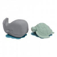 Hevea Natural Rubber Whale and Turtle Bath Toy Gift Set - Plant based, Plastic-free, Non-Toxic