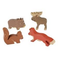Hevea Rubberwood Plastic-free, Non-Toxic Nordic Forest Animals Toy Set