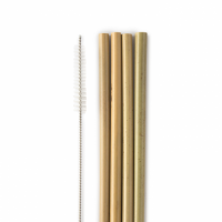 Humble Co Reusable Bamboo Straws 4 Pack + 1 Cleaner - Naturally Anti Bacterial