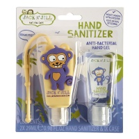 Jack n Jill Hand Sanitiser with Bag Clip 2 Pack - Monkey
