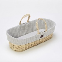 The Little Green Sheep Natural Knitted Moses Basket and Mattress - Dove Grey