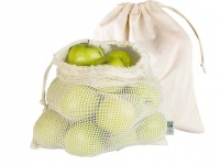 Memo Organic Cotton Net Bag for Loose Fruits and Veg Shopping  - 2 Pack
