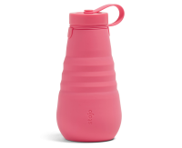 Stojo Reusable Water Bottle - Collapses Down to Fit in Your Pocket or Bag - 20oz Peony