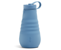 Stojo Reusable Water Bottle - Collapses Down to Fit in Your Pocket or Bag - 20oz Steel Blue