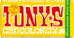 Tonys Chocolonely Fairtrade Chocolate Bar - Milk Chocolate Almond Honey Nougat